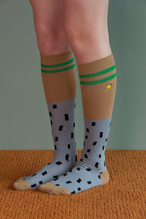 knee high socks | sprinkles | steel blue + brassy green