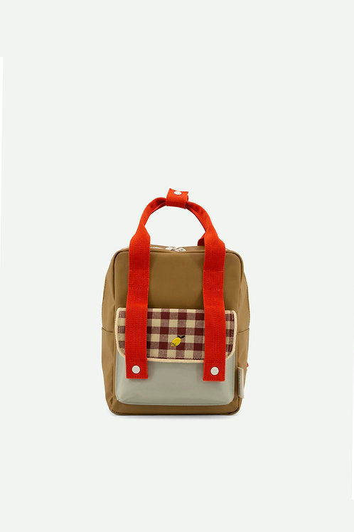 backpack small | gingham | pool green + apple red + leaf green