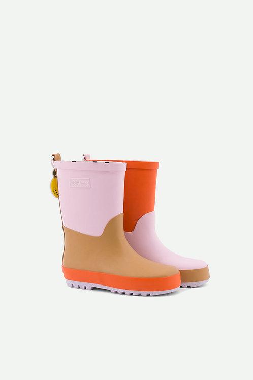 rainboots | three tones | mendl's pink + panache gold + royal orange