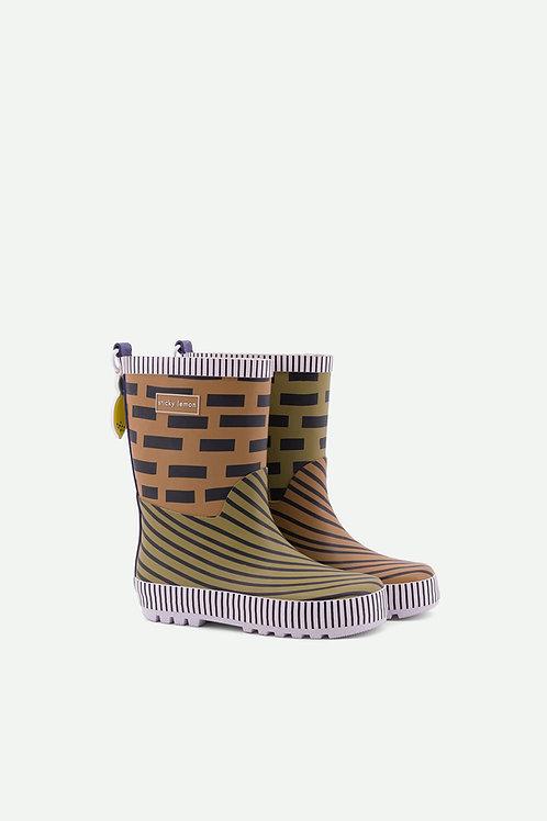 rainboots | special edition | sugar brown + madame olive + lobby purple