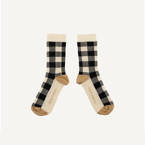 Socks • check • milk + black