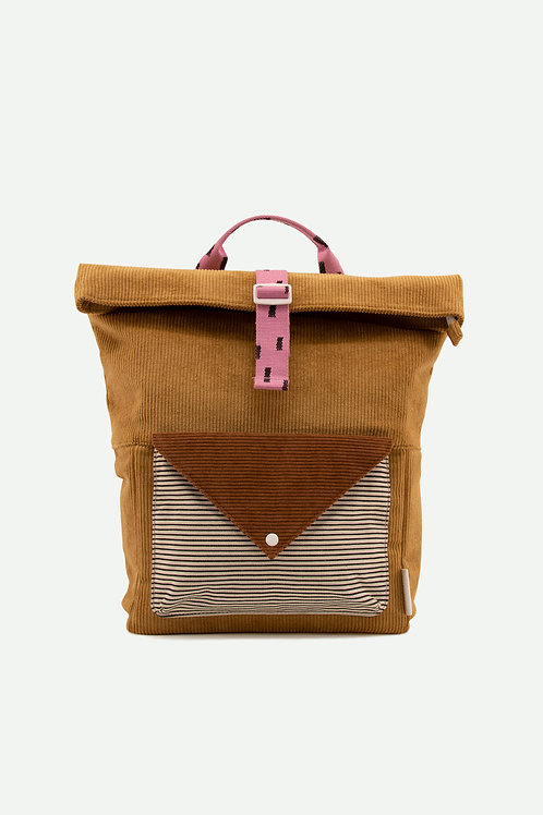 large backpack corduroy | dijon + gingerbread + bubbly pink