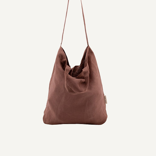 Baya washed linen shopper • chestnut