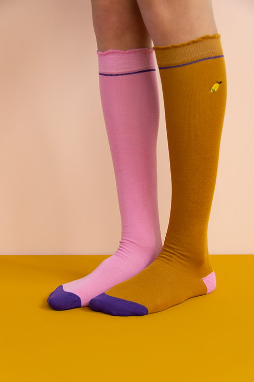 knee high socks | special edition | panache gold + puff pink
