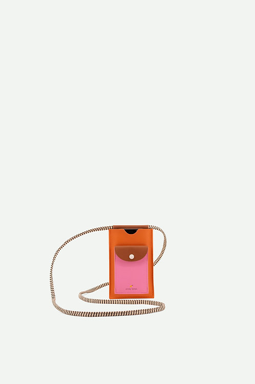 phone pouch | xl | carrot orange + syrup brown + bubbly pink