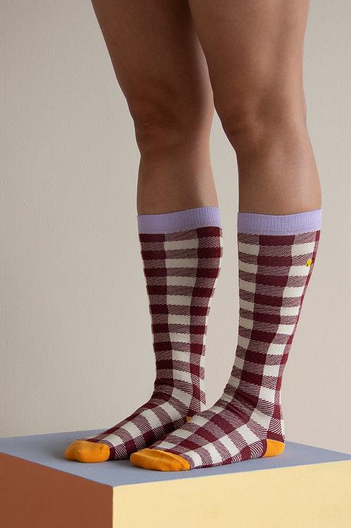 Knee high socks | gingham | chocolate sundae + mauve lilac