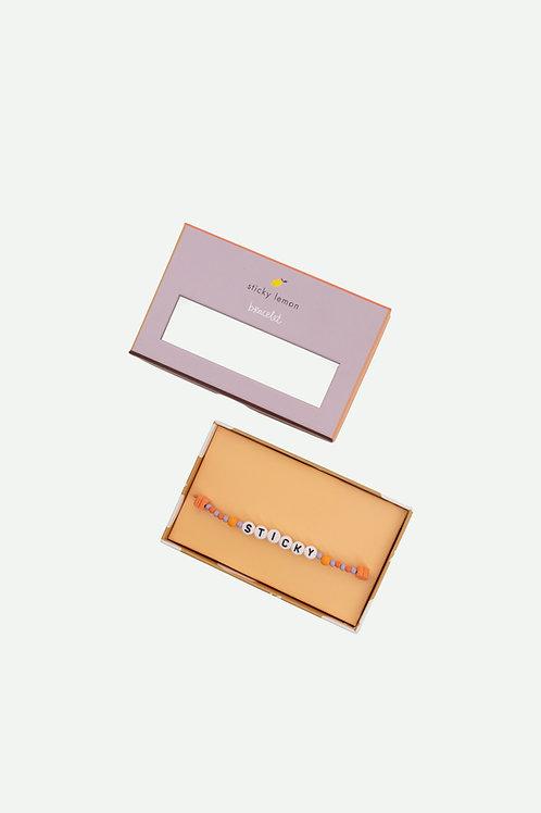 bracelet | sticky |  mauve lilac + orange juice