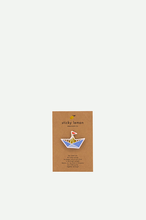 embroidered pin | boat