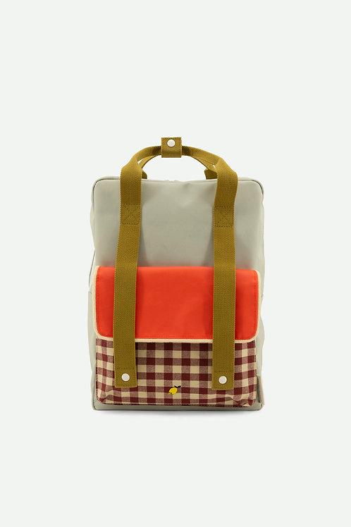 backpack large | gingham | pool green + apple red + leaf green