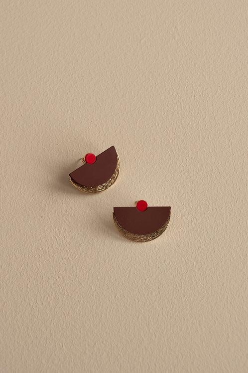Earrings sunrise   wine red + poppy red