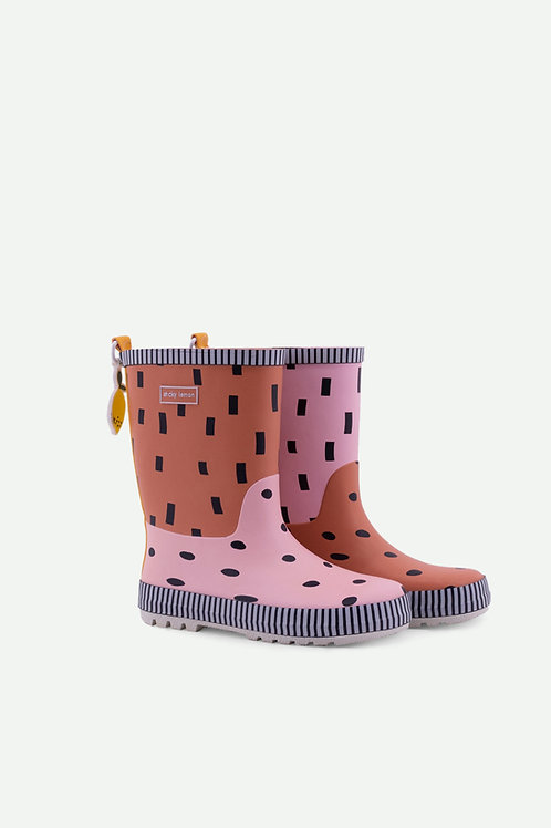 rainboots | candy pink + faded orange + carrot orange