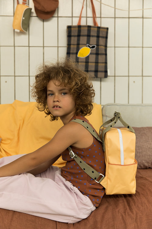 small backpack freckles | retro yellow + seventies green + faded orange