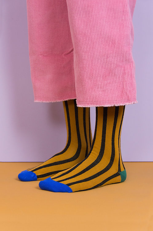 knee high socks | vertical stripes | caramel fudge