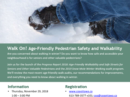 Walk On! Age-Friendly Pedestrian Safety and Walkability