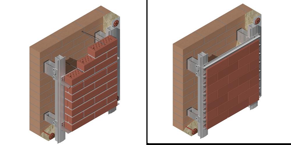 Thermally broken brick veneer system U-kon
