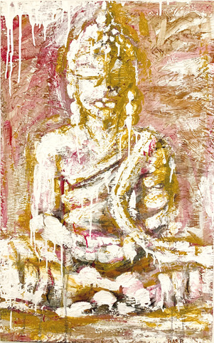Pink Buddha Painting by Barb White