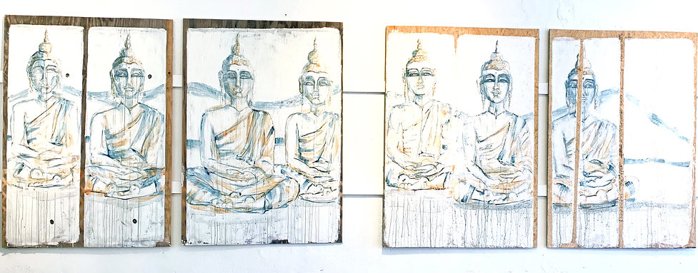 COLLECTION The Seven Buddhas   4/4 Panels   48 x 68 each panel   Original painting by Barb White   Ink & Acrylic on Wood   $1,500 fro 4/4 panels
