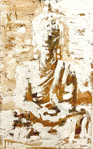 Brown Buddha Painting by Barb White