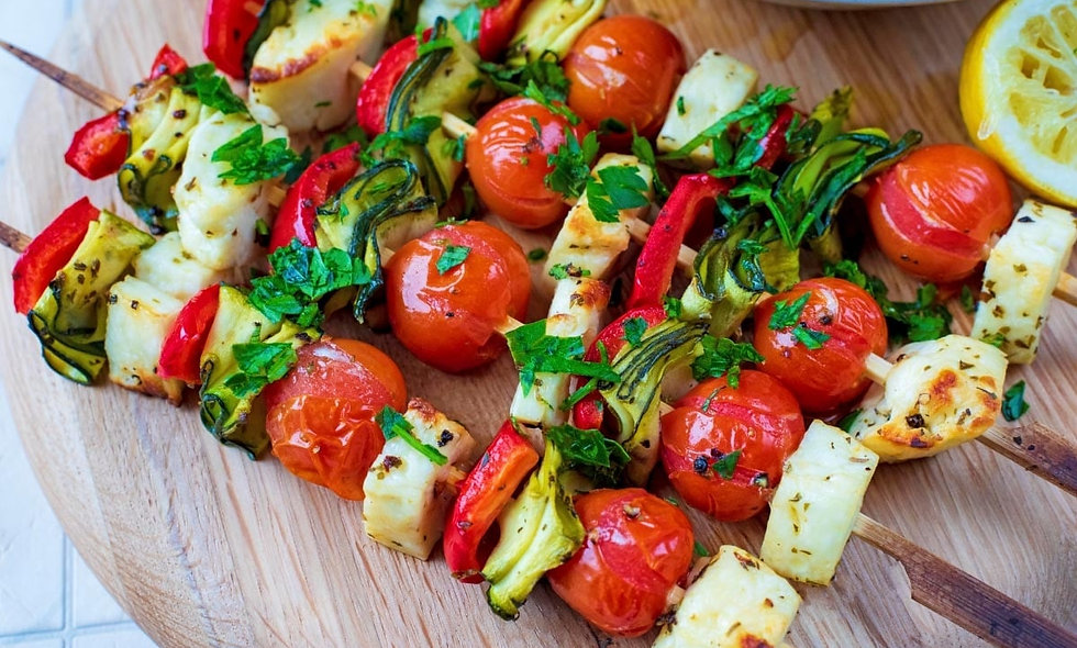 Grilled Halloumi & Vegetable Skewers