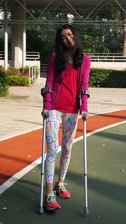 At HKSI with crutch
