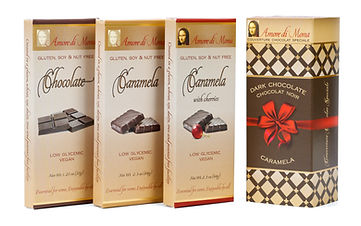 Classico pack including vegan chocolate, plain caramela, and caramela with cherries