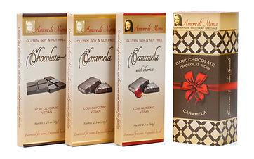 Classico pack including vegan chocolate, plain caramela, and caramela with cherries | Amore di Mona