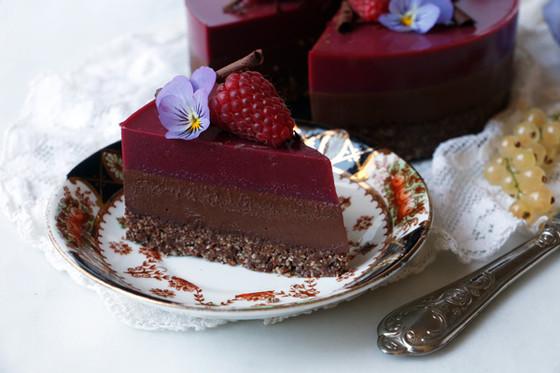 Chocolate Raspberry Bavarois - Vegan & Gluten-free