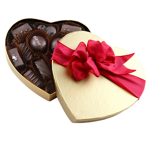 Vegan chocolate, caramel, and ganache assortment in gold heart