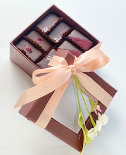 16 Piece Assorted Mignardise and Ganache Brown Gift Box