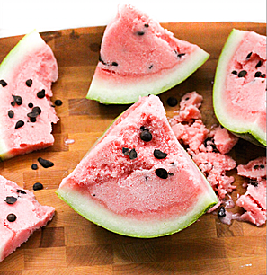 "Watermelon Sorbet with Dark Chocolate ""Seeds"""