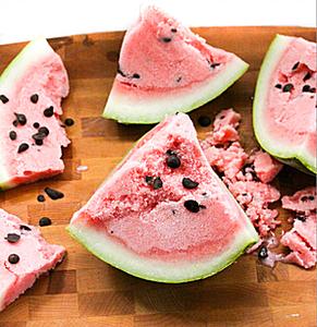 "Watermelon Sorbet with Dark Chocolate ""Seeds"""