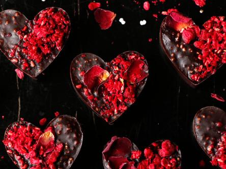 Raspberry Amaranth Chocolate Hearts (Vegan)