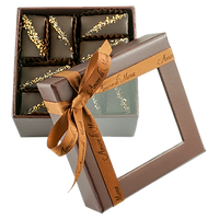 Vegan chocolate sixteen piece mignardise collection in brown box
