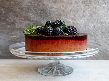 Chocolate, Blackberry, and Thyme Vegan Ice Cream Cake