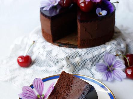 Cherry Chocolate Mousse Cake (Vegan & Gluten-free)