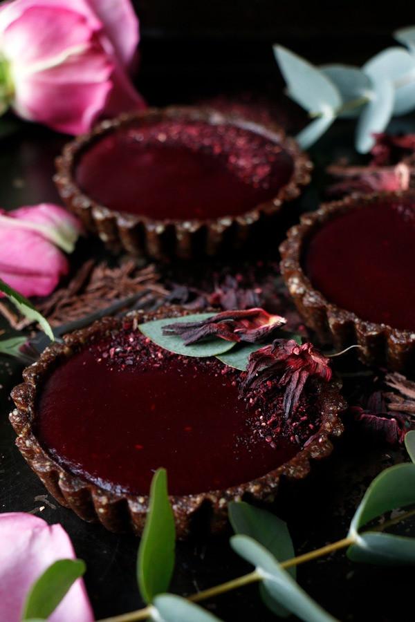 Vegan Raspberry Hibiscus Tarts