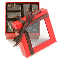 Vegan chocolate sixteen piece mignardise collection in red box