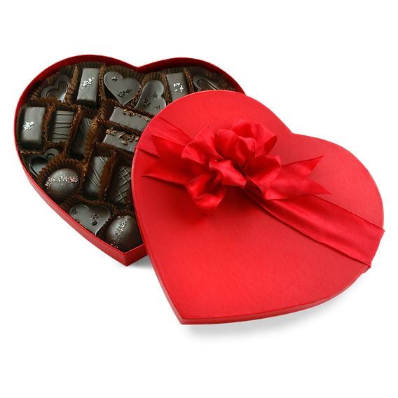 Vegan chocolate, caramel, and ganache thirty-three piece assortnment in red heart