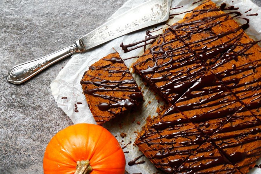 Vegan and Gluten Free Chocolate Pumpkin Squares