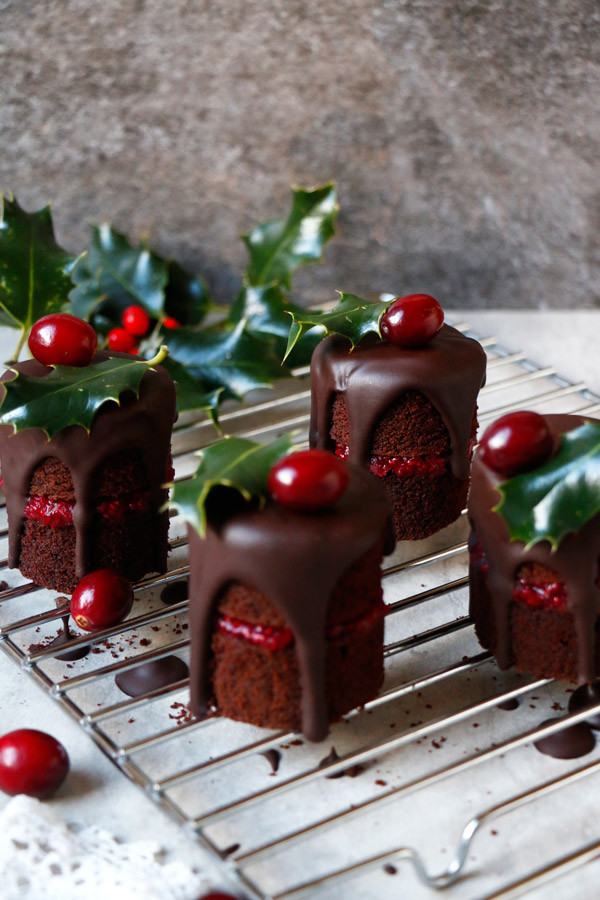Cranberry Chocolate Christmas Mini Cakes