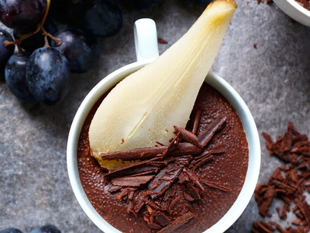 Chocolate Amaranth Pudding with Cardamom Poached Pears (Gluten Free & Vegan)