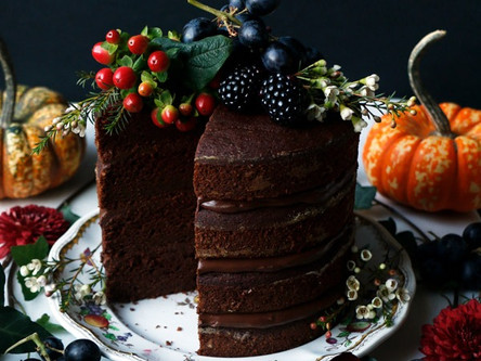 Pumpkin Chocolate Layer Cake (Vegan, Nut, and Gluten Free)