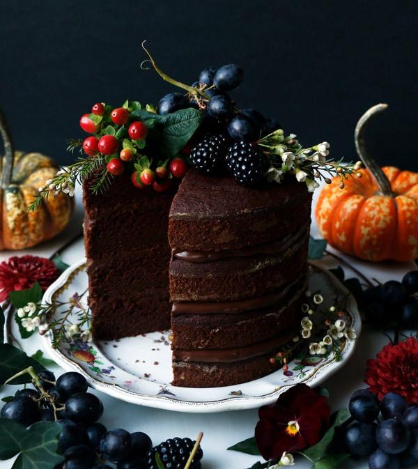 Pumpkin Chocolate Layer Cake - Vegan and Gluten Free