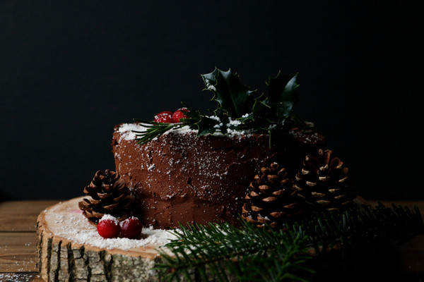 Vegan Chocolate Christmas Cake