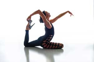 Leah does yoga