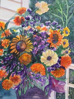 Orange and Purple Flower Bunch
