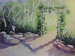 Arbour With Flowers Over Path