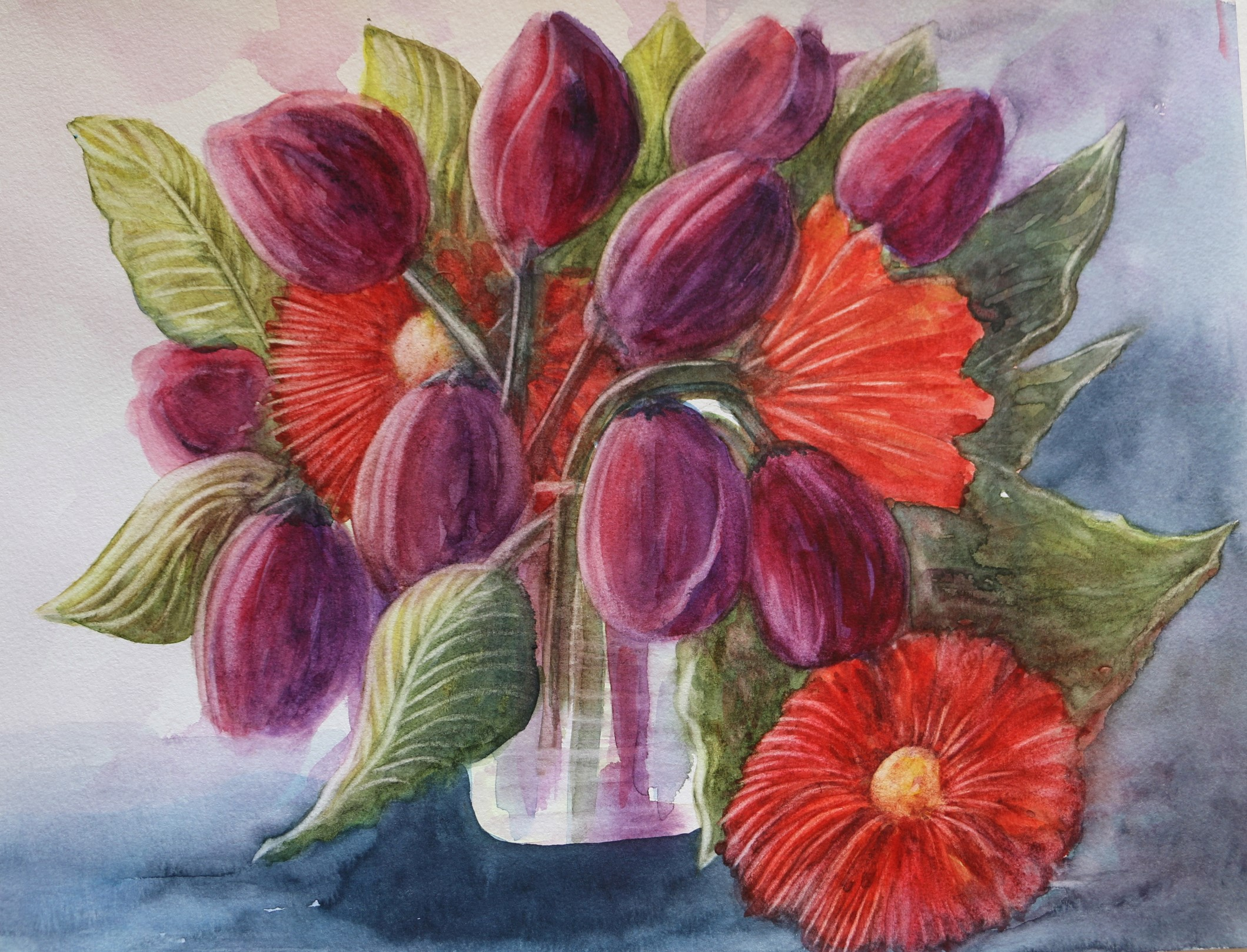 Tulips and Gerberas
