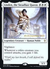 Linden, the Steadfast Queen (Prerelease Foil / Throne of Eldraine)