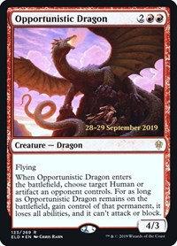 Opportunistic Dragon (Prerelease Foil / Throne of Eldraine)